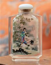 Sale 9055H - Lot 36 - A Chinese reverse-painted glass scent bottle with hard stone stopper painted with scenes of figures in landscapes to both sides. H:7...