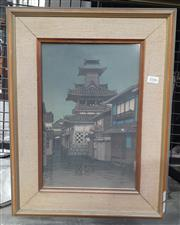 Sale 9065 - Lot 2006 - Japanese School Canal Scene and Buildings at Night colour woodblock print 51 x 40cm (frame)