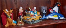 Sale 9103H - Lot 26 - A shelf lot of mainly plastic vintage cartoon related items.