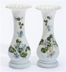 Sale 9185E - Lot 23 - A pair of small handpainted white glass ruffled vases, Height 18cm