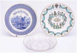 Sale 9185E - Lot 190 - A group of three commerative dishes including spode, masons, and a glass example