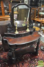 Sale 8359 - Lot 1041 - A 19th Century Cedar Dressing Table with pierced supports, two drawers on turned supports on plinth base.