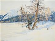 Sale 8526 - Lot 528 - Hans Beat Wieland (1867 - 1945) - Landscape Scene with Snow covered Mountains, 1911 51.5 x 70cm