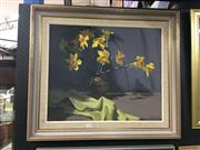 Sale 8702 - Lot 2001 - Gallagher - Daffodils oil on canvas on board (AF), 50 x 59cm, signed lower right