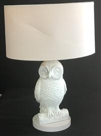 Sale 8725A - Lot 40 - A decorative white painted owl form lamp, height of base 36cm