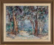 Sale 8818A - Lot 30 - BAlan HansenDRI Megalong Valley MistDR oil on canvas on boardR 60 x 75cmR dated verso 1988