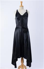 Sale 8891F - Lot 72 - A Marc Jacobs black silk satin evening cocktail dress with delicate pleating and a cascading handkerchief hem, size medium