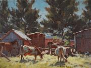 Sale 8907 - Lot 558 - William Rowell (1898 - 1946) - Cows in a Farmyard 29.5 x 39.5 cm