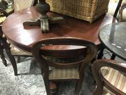 Sale 8942 - Lot 1061 - Timber Dining Setting incl. Tilt Top Table (loose) & Six Balloon Back Chairs (one chair wobbly) (Back Height of Chairs: 88cm)