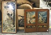 Sale 8941 - Lot 2061 - A Group Assorted Chinese Art incl. Embroidery, Ink Landscape, and a Handpainted fold-out screen -