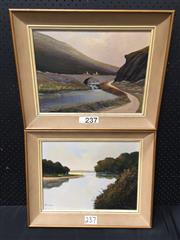 Sale 9072 - Lot 2056 - Val McGann (2 works), Horse riders; By the lake, oil on canvas on board, 41 x 51 cm (each), each signed lower left