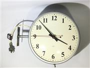 Sale 9080G - Lot 89 - Vintage E.R.C Industrial Double Sided Railway Station Clock With Bracket. General wear. some marks. Size : D 30 cm X D 37cm including..
