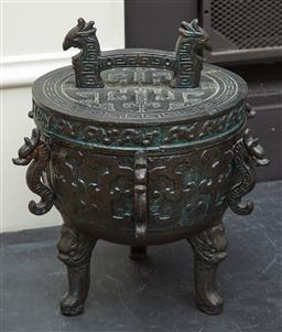 Sale 9108H - Lot 4 - A Chinese tripod ice bucket in the form of a censer.  Height 29cm x  Diameter 25cm