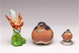 Sale 9119 - Lot 505 - Two small Royal Copenhagen birds (H:7cm and 5cm) together with a Crown Staffordshire example (H:8cm)