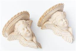 Sale 9135H - Lot 193 - A fine pair of antique marble cherub wall mounts,  18cm Height