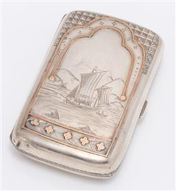 Sale 9180E - Lot 82 - A Victorian hallmarked sterling silver cigarette case, Birmingham, by Thomas Marsh & Co, with rose gold decoration and featuring shi...