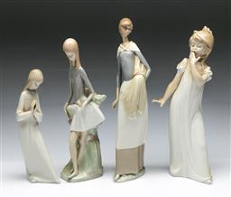 Sale 9164 - Lot 406 - Collection of Nao figures of women (4) (H:31cm)