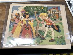 Sale 9163 - Lot 2080 - Set of (11) 1950s coloured lithographs from Gay Way Series - Nursery Rhyme Pictures -