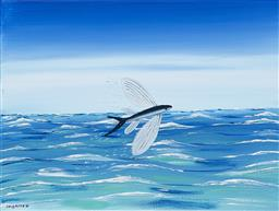 Sale 9256A - Lot 5177 - DOUG FRITH (1960 - ) Flying Fish, 2020 acrylic on canvas 40.5 x 30.5 cm signed and dated lower left, inscribed and titled verso