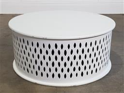 Sale 9218 - Lot 1015 - Painted round timber sidetable (h35 x d80cm)