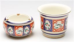 Sale 9253 - Lot 405 - Imari patterned jardiniere (H:13cm) and ashtray (Dia:14cm) By Florentine Italy