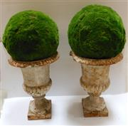 Sale 8256A - Lot 39 - A pair of Antique French cast iron garden urns with faux moss balls. Some rim chips / wear. Size urns: 50 cm tall -- moss balls 30 cm