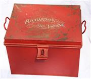 Sale 8319 - Lot 4 - Red tin document box with twin handles and painted signage for Richardson and Thorne