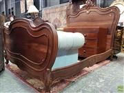 Sale 8576 - Lot 1067 - Louis XV Style Walnut Double Bed, with pierced rocaille scroll & side rails