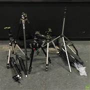 Sale 8648A - Lot 13 - Group of Tripods including:  Gitzo w Roller Head Manfrotto with Roller Head Manfrotto with Ball-Grip Head (2) Manfrotto 47...