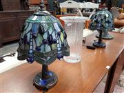 Sale 8688 - Lot 1025 - Pair of Small Leadlight Shade Table Lamps