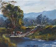 Sale 8907 - Lot 582 - Kevin Best (1932 - 2012) - Cows Grazing by the River 24 x 29 cm