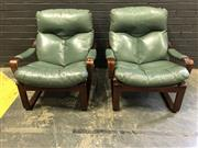Sale 9002 - Lot 1019 - Pair of Tessa Armchairs with Green Upholstered Cushions (H:86 W:73cm)
