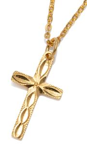 Sale 9037 - Lot 307 - A 24CT GOLD CRUCIFORM PENDANT NECKLACE; 23 x 13mm cross on a square anchor link chain with scroll clasp,  length 41cm, wt. 5.54g.