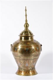 Sale 9015C - Lot 780 - Coloured brass lidded vase with geometric pattern (total height 72cm)