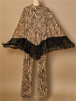 Sale 9093F - Lot 97 - A Mr Simon gold & black zebra lurex print poncho with black fringing and matching Flared Pants, size S-M Excellent Condition