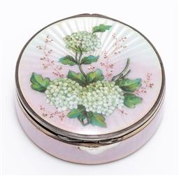 Sale 9180E - Lot 38 - A pink guilloche and 935 silver trinket case, Diameter 6cm, total weight 82g