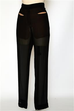 Sale 9095F - Lot 26 - A pair of Celine black silk sheer pants with tan lined pockets, size 8.