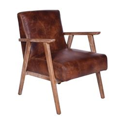 Sale 9180F - Lot 13 - A pair of Mid Century design premium top grain distressed brown leather armchairs with Brushed Cherry wood coloured hard wood frame...