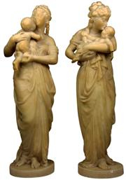 Sale 8065 - Lot 1 - Alabaster Awake & Asleep Figures