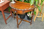 Sale 8156 - Lot 1041 - Single Drawer Demi Lume Hall Table On Turned And Fluted Legs