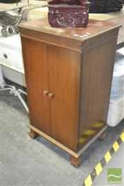 Sale 8272 - Lot 1093 - Oak Raised Timber Fitted Two Door Cabinet