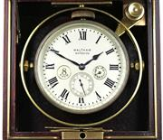 Sale 8402W - Lot 85 - WALTHAM 8 DAY MARINE CHRONOMETER; matte dial with  Roman numerals, up and down and seconds subsidiary dials on a 15 jewell movement...
