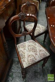 Sale 8500 - Lot 1033 - Set of Six Victorian Carved Mahogany Chairs, with balloon back, drop in tapestry seats & turned legs