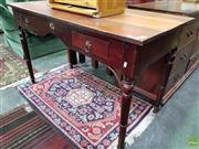 Sale 8611 - Lot 1035 - Timbetr Two Drawer Desk with Star Handles