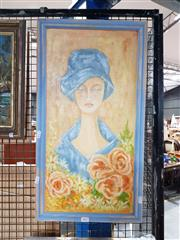 Sale 8699 - Lot 2065 - Trisha Meijboom - Lady and Roses, acrylic on canvas on board, 66 x 36cm (frame size), signed lower right