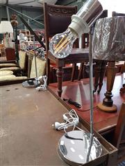 Sale 8740 - Lot 1163 - Pair of Chrome Based Table Lamps with Filament Bulbs
