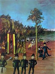 Sale 8859A - Lot 5023 - Sidney Nolan (1917 - 1992) - Siege at Glenrowan 67 x 51cm