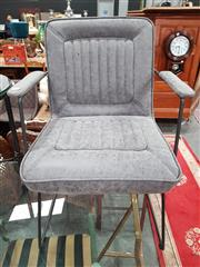 Sale 8904 - Lot 1084 - Pair of Grey Suede Upholstered Carver Chairs with Metal Frame (H: 86 W: 60 D: 69cm)