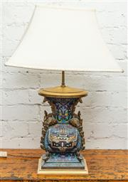 Sale 8942H - Lot 27 - A Chinese Cloisonné lamp base with square base head attachment, total height 76cm (untested), original wiring.