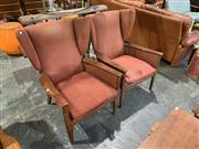 Sale 9002 - Lot 1098 - Pair of Vintage Parker Knoll Wing Back Armchair with Paddle Arms (h:92 x w:76cm)